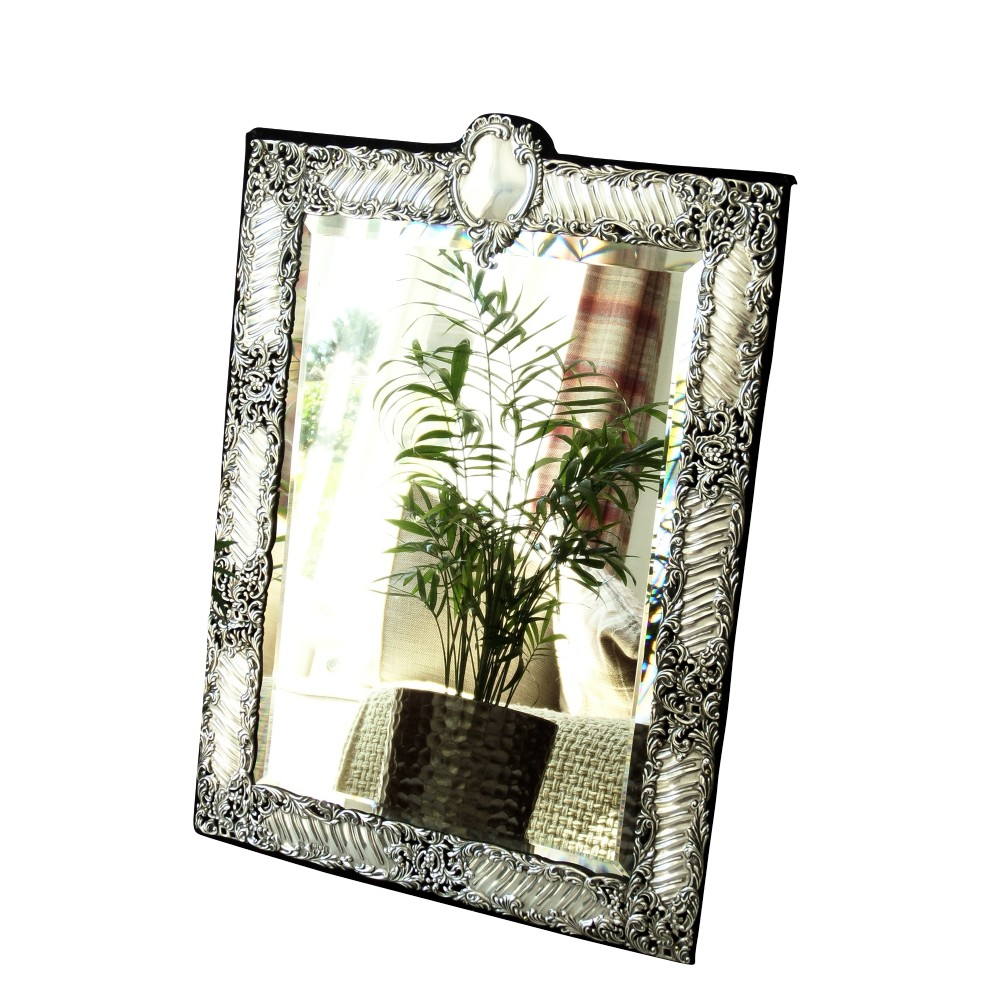 large antique edwardian sterling silver 18 x 13 dressing table mirror 1904
