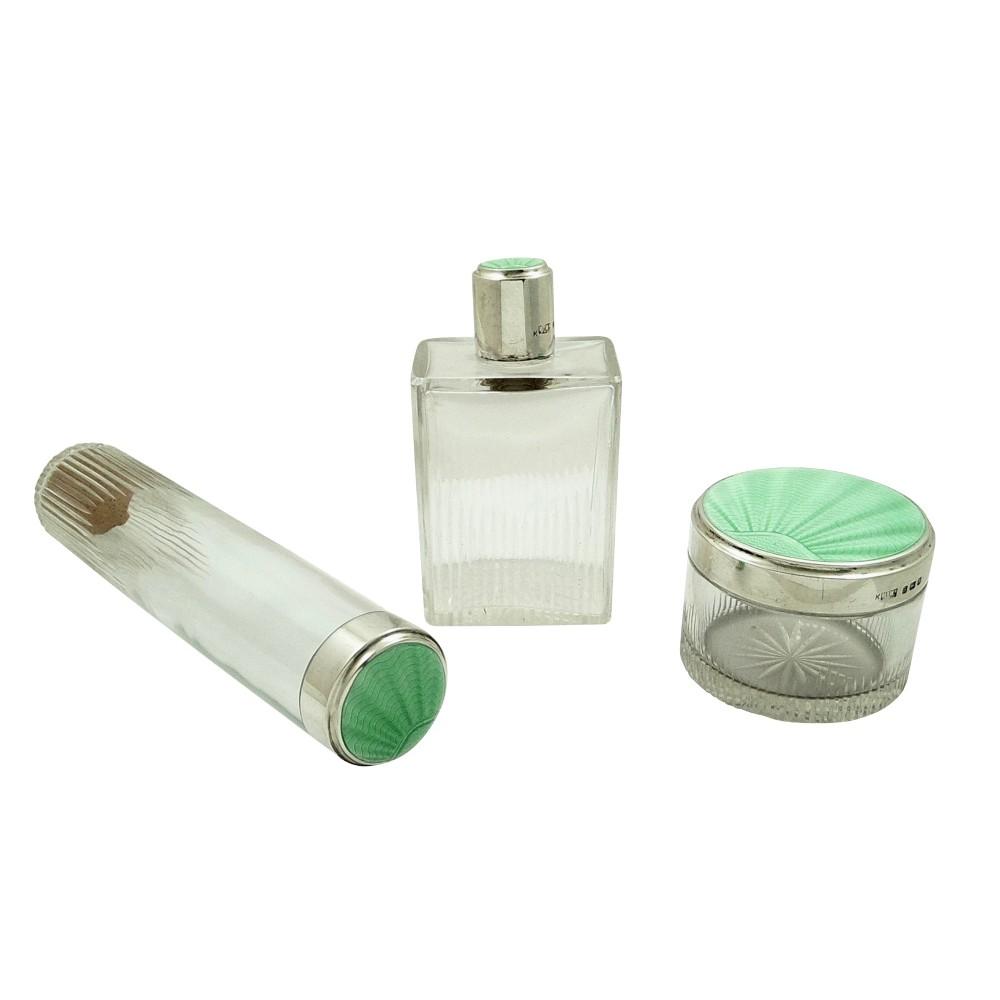 set of 3 antique sterling silver green enamel top vanity jars 1937