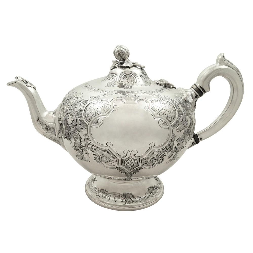 antique scottish victorian sterling silver teapot edinburgh 1862