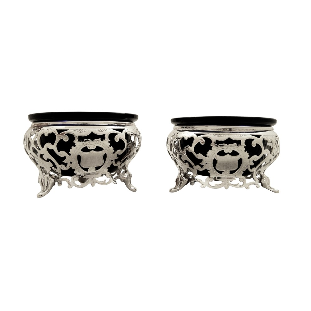 pair of antique victorian sterling silver salts 1889
