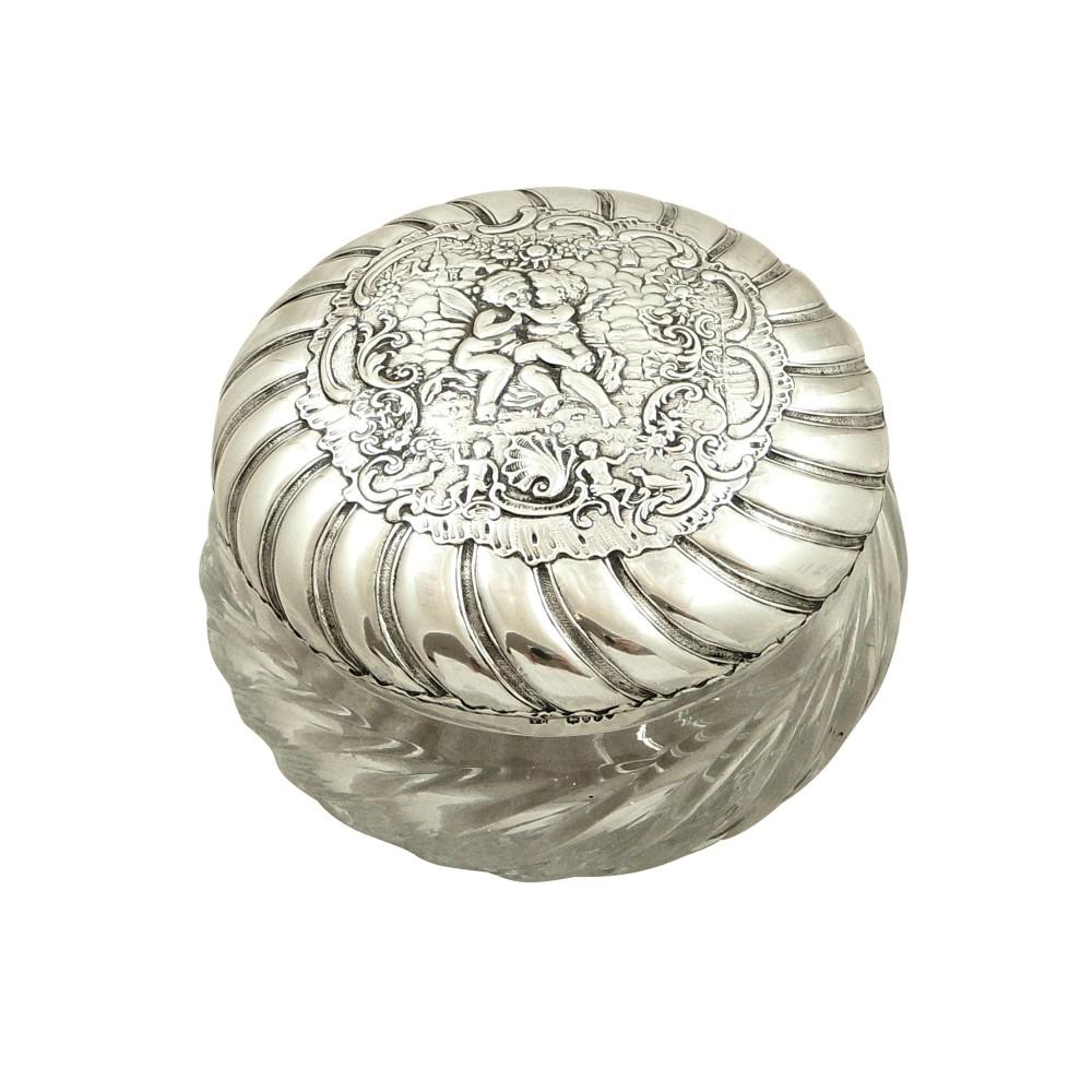 antique victorian sterling silver glass 'cherub' vanity pot jar 1896