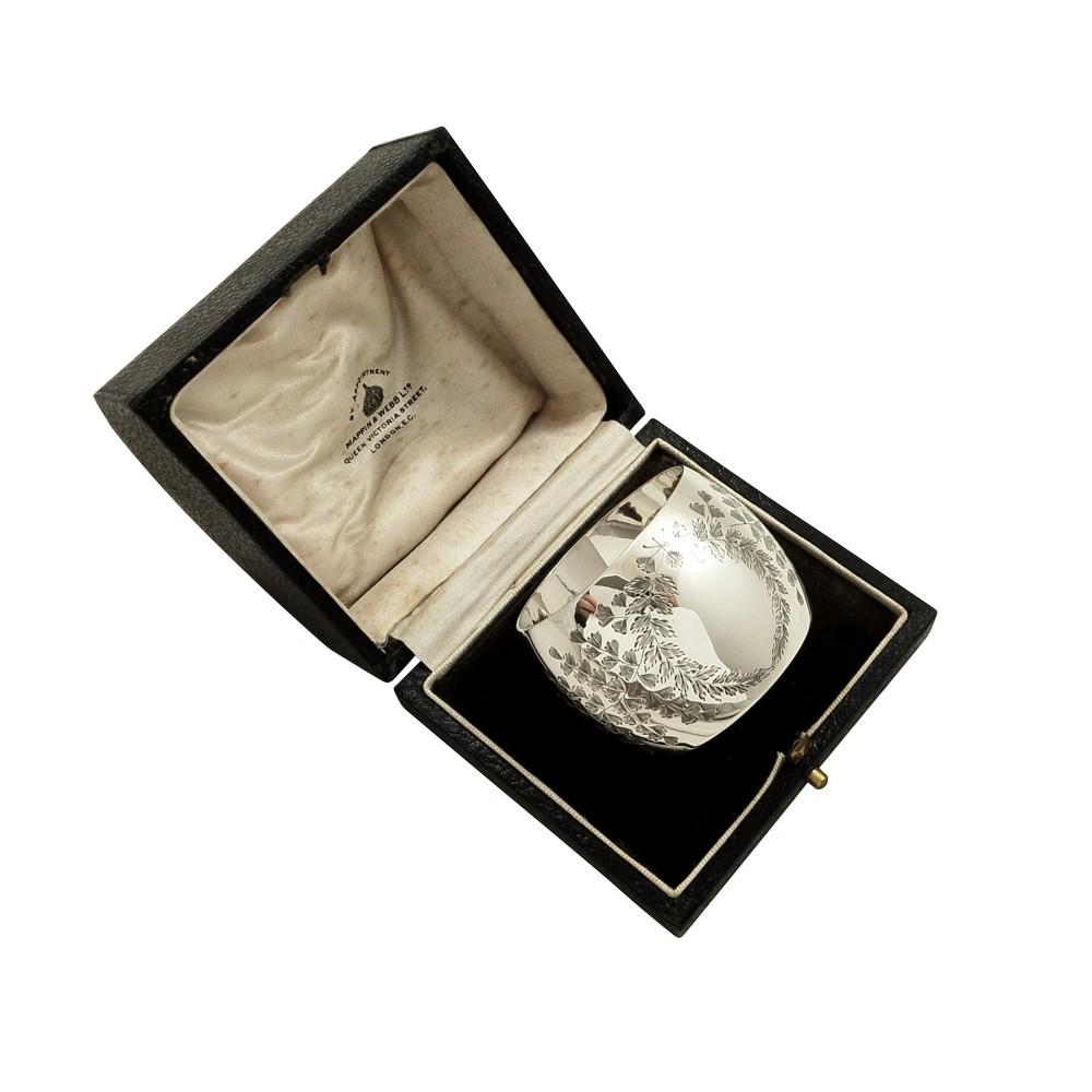 antique edwardian mappin webb sterling silver napkin ring in case 1905