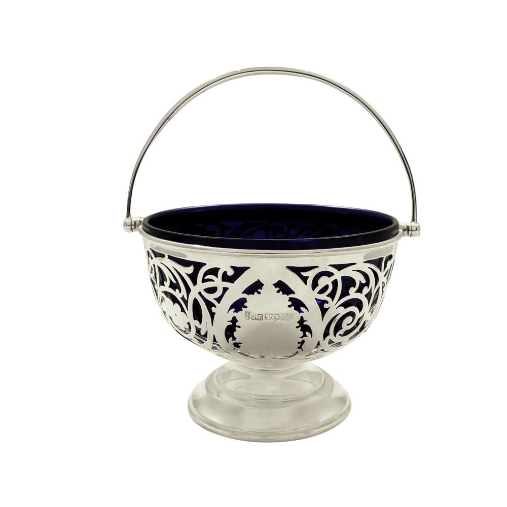 antique edwardian sterling silver basket with liner 1907