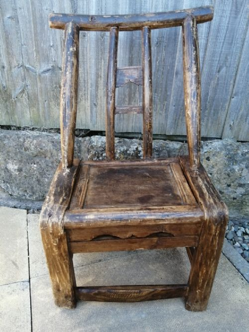 primitive chinese wooden child's chair signed