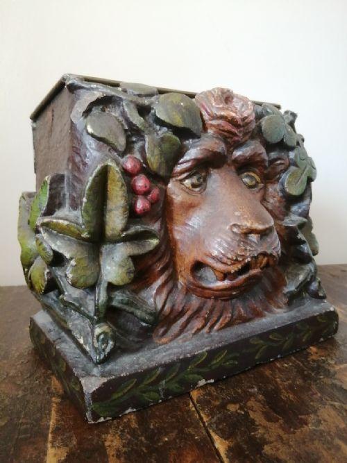 rare late 17th early 18th century polychromed limestone lion box
