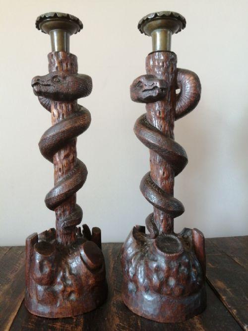 unusual carved wood and bronze serpent candelsticks c1850