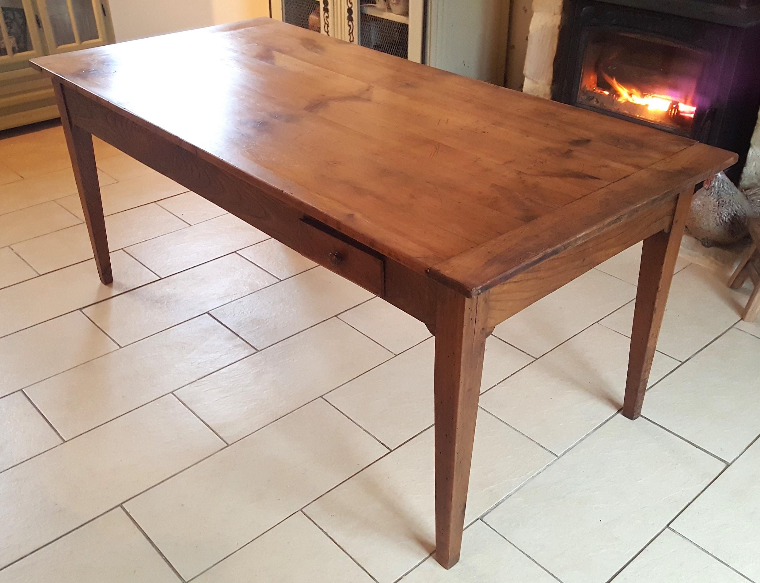 walnut cherry wood farmhouse table