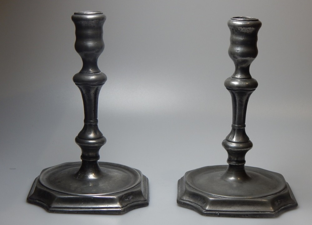 pair of 18th century pewter candlestickstapers