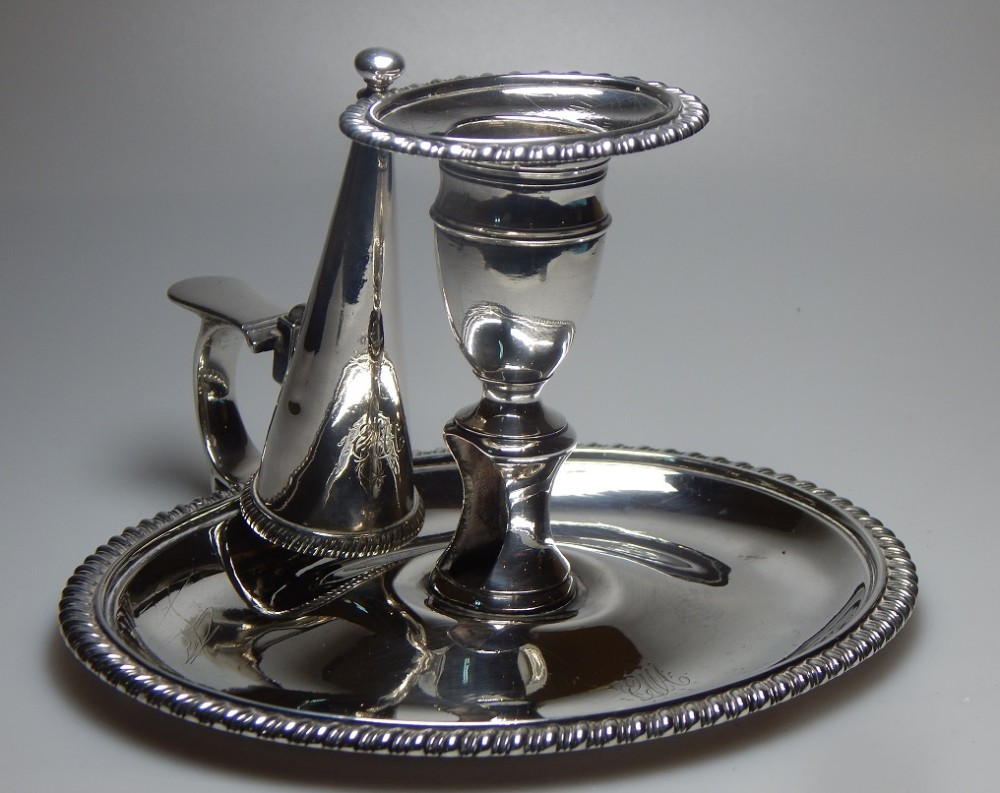 george 3rd solid silver chamberstick with snuffer
