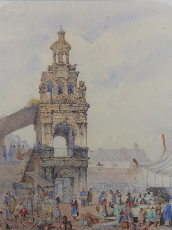 joseph john jenkins 18111885 large architectural watercolour painting rouen france