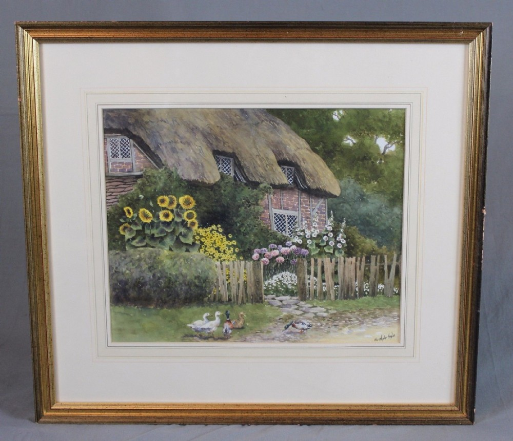 christopher hughes watercolour painting english cottage and ducks