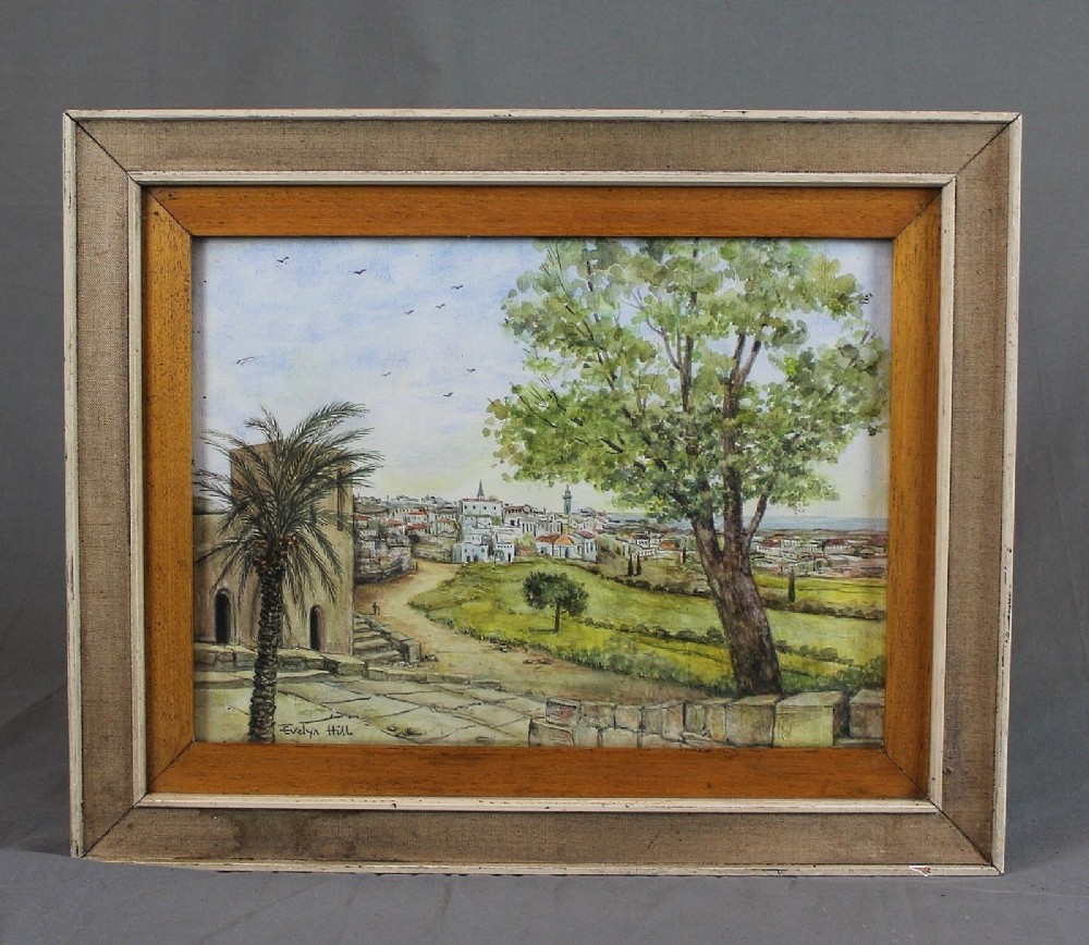 evelyn hill vintage watercolour painting continental landscape