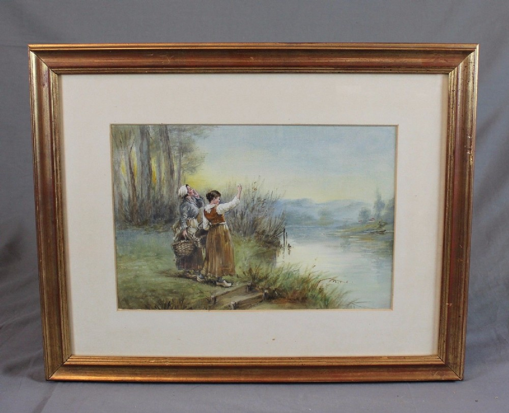 manner of myles birket foster 19th century continental landscape oil painting