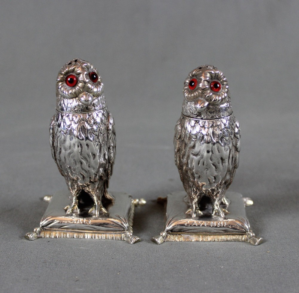 19th century fine solid silver pair of novelty owl salt and pepper shakers