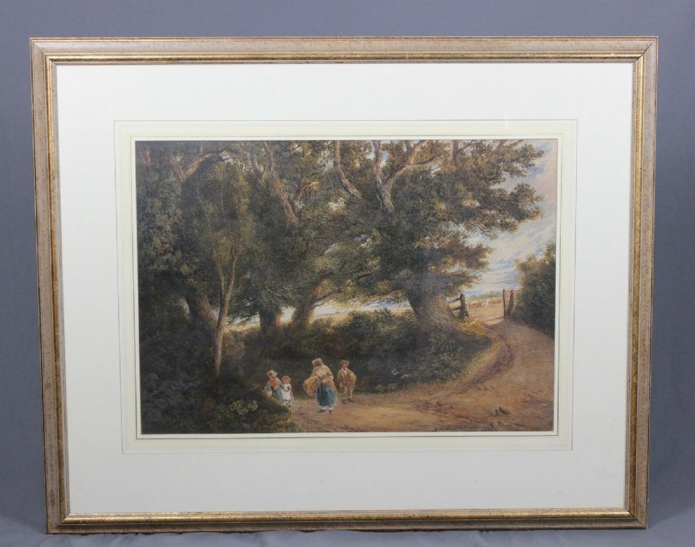 henry mapleston countryside landscape watercolour painting large 19th century