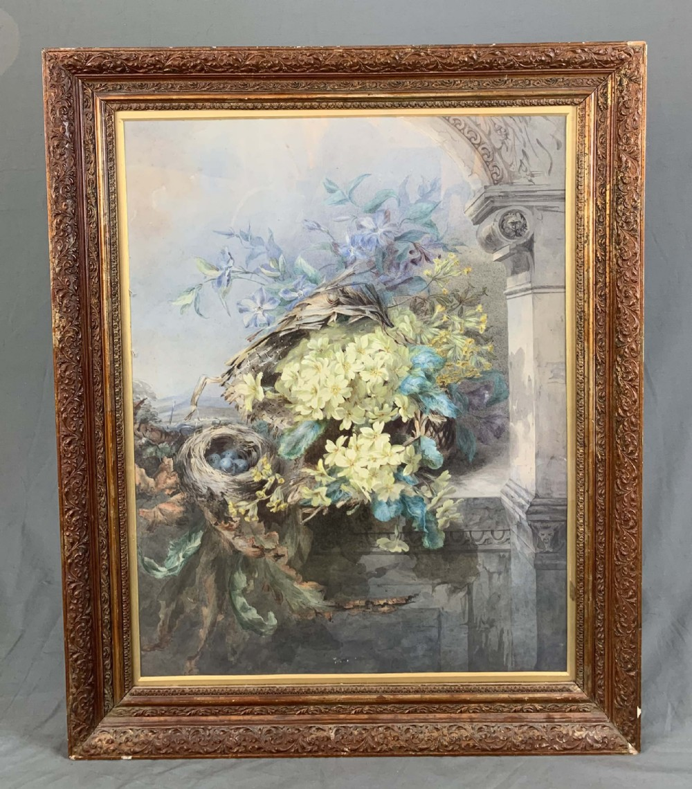 large 19th century watercolour painting still life flowers and birds nest by francis margaret benson 18491887