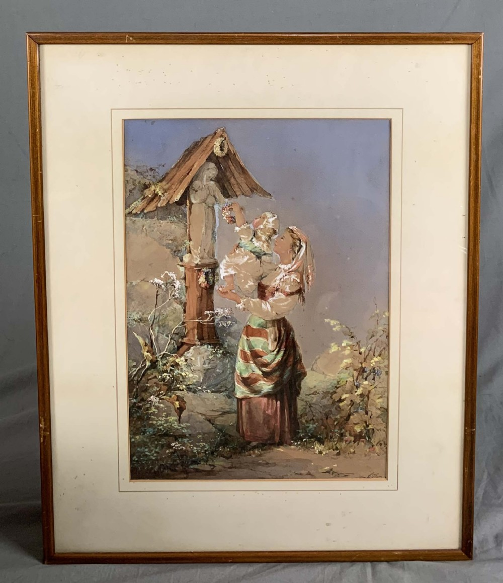 19th century figural italian school watercolour painting mother and child