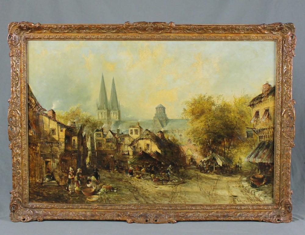 clifford montague 1888 large dutch oil painting fine 19th century town scene