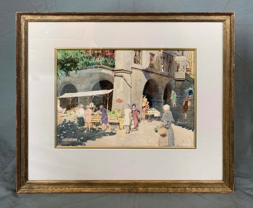 watercolour painting figures in a continental market by william herbert allan 18631943