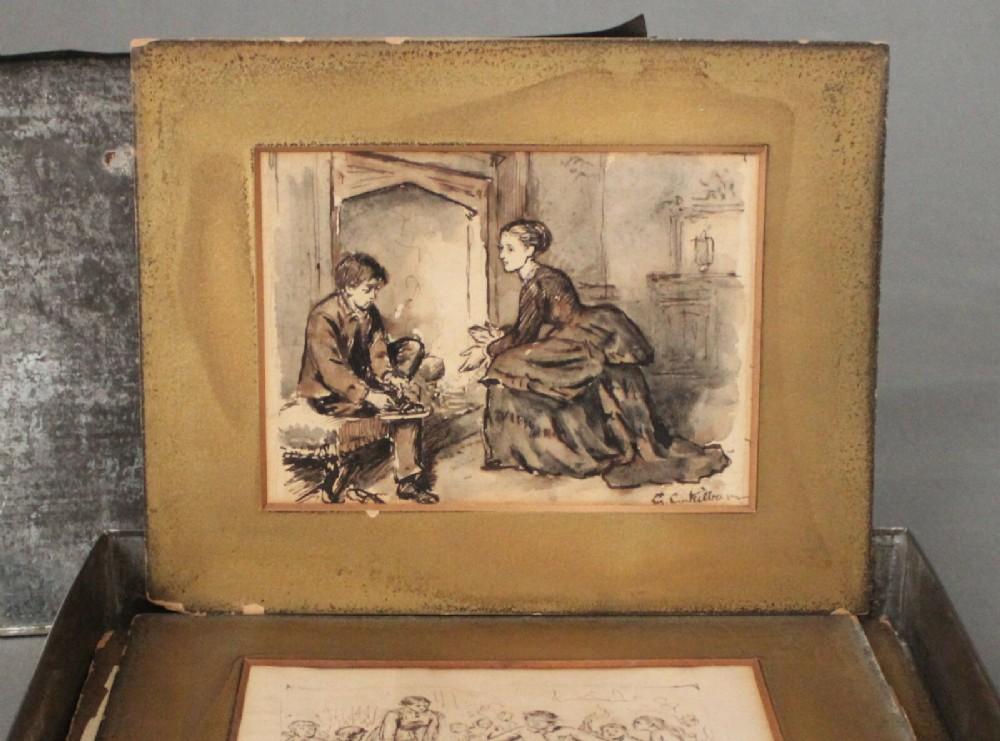 george goodwin kilburne ri rba 18391924 four figural pen and ink sketches