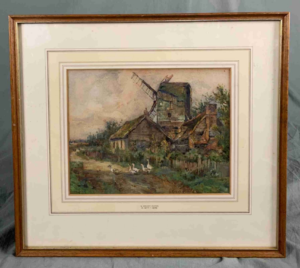 19th century watercolour painting farm and windmill by sydney grant rowe rba roi 18611928