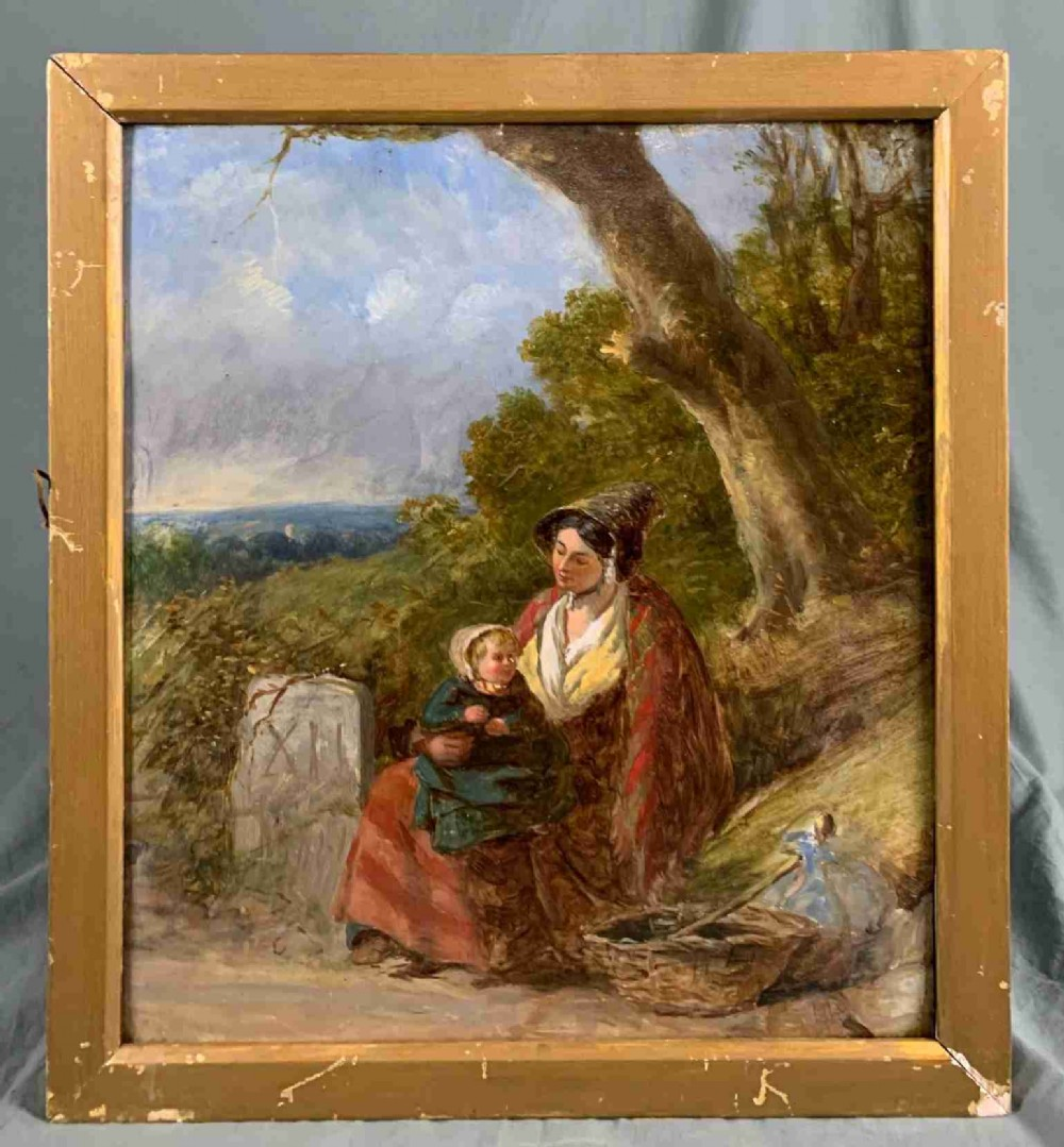 19th century oil painting figural study traveller woman and child