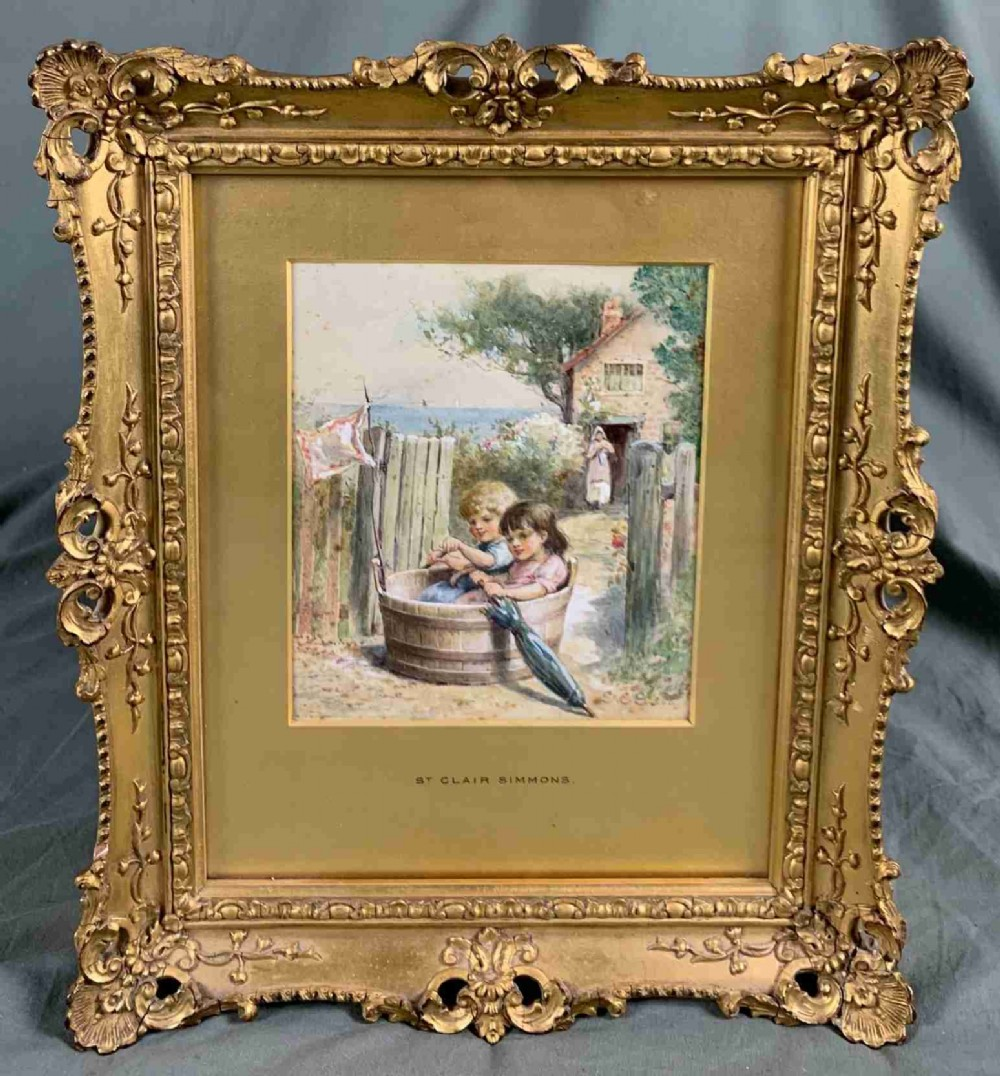 watercolour painting children in a tub boat by william st claire simmons fl 1878