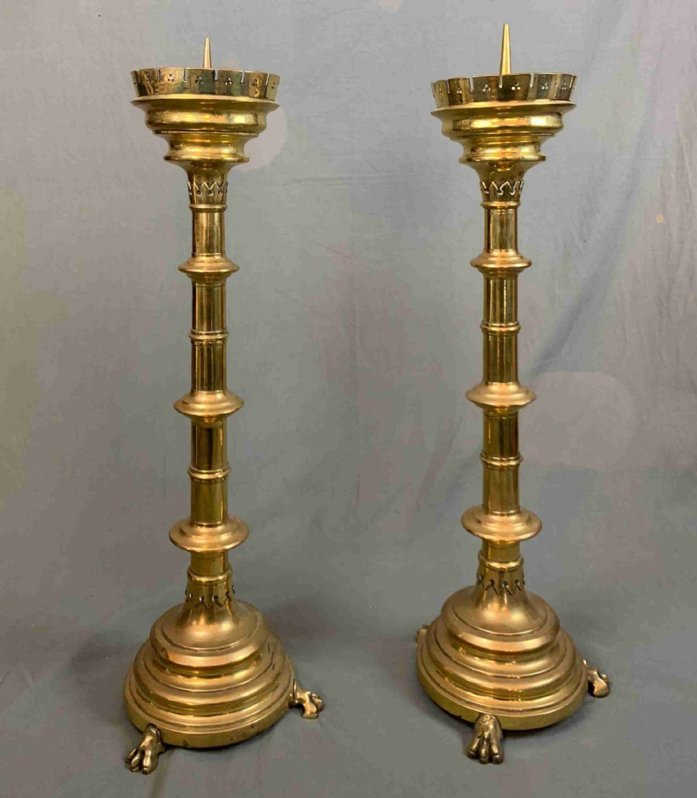 pair of large 19th century gothic brass pricket candlesticks