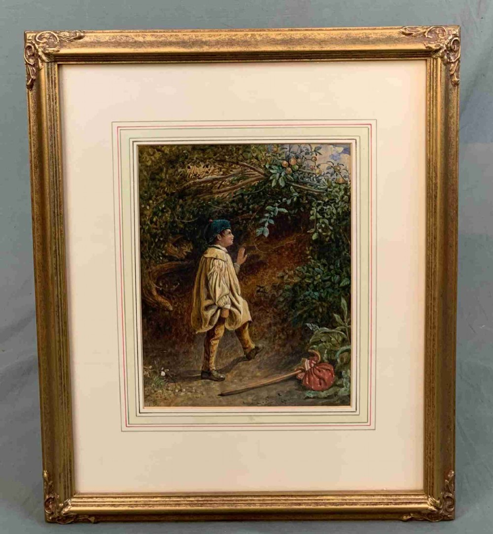 mid 19th century figural portrait watercolour painting boy picking apples