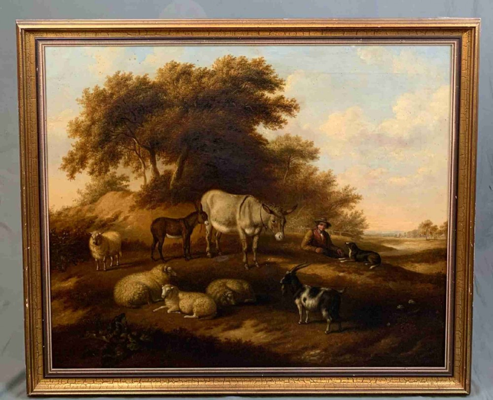 large mid 19th century countryside oil painting by c jackson