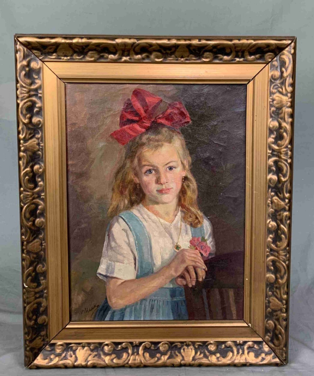 edwardian oil painting portrait of a pretty young girl