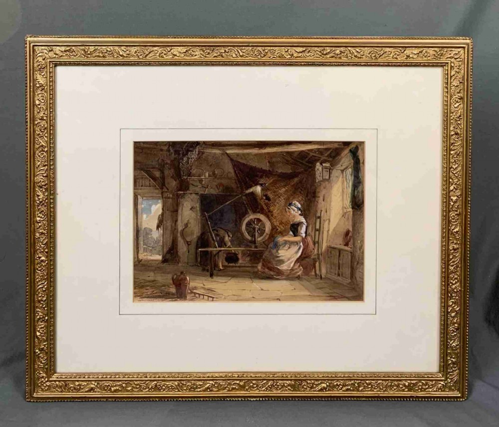 watercolour painting young lady spinning by emile aubort lessorse 18051876