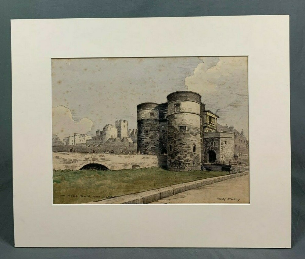 watercolour painting middle tower tower of london by sidney walter stanley 18901956