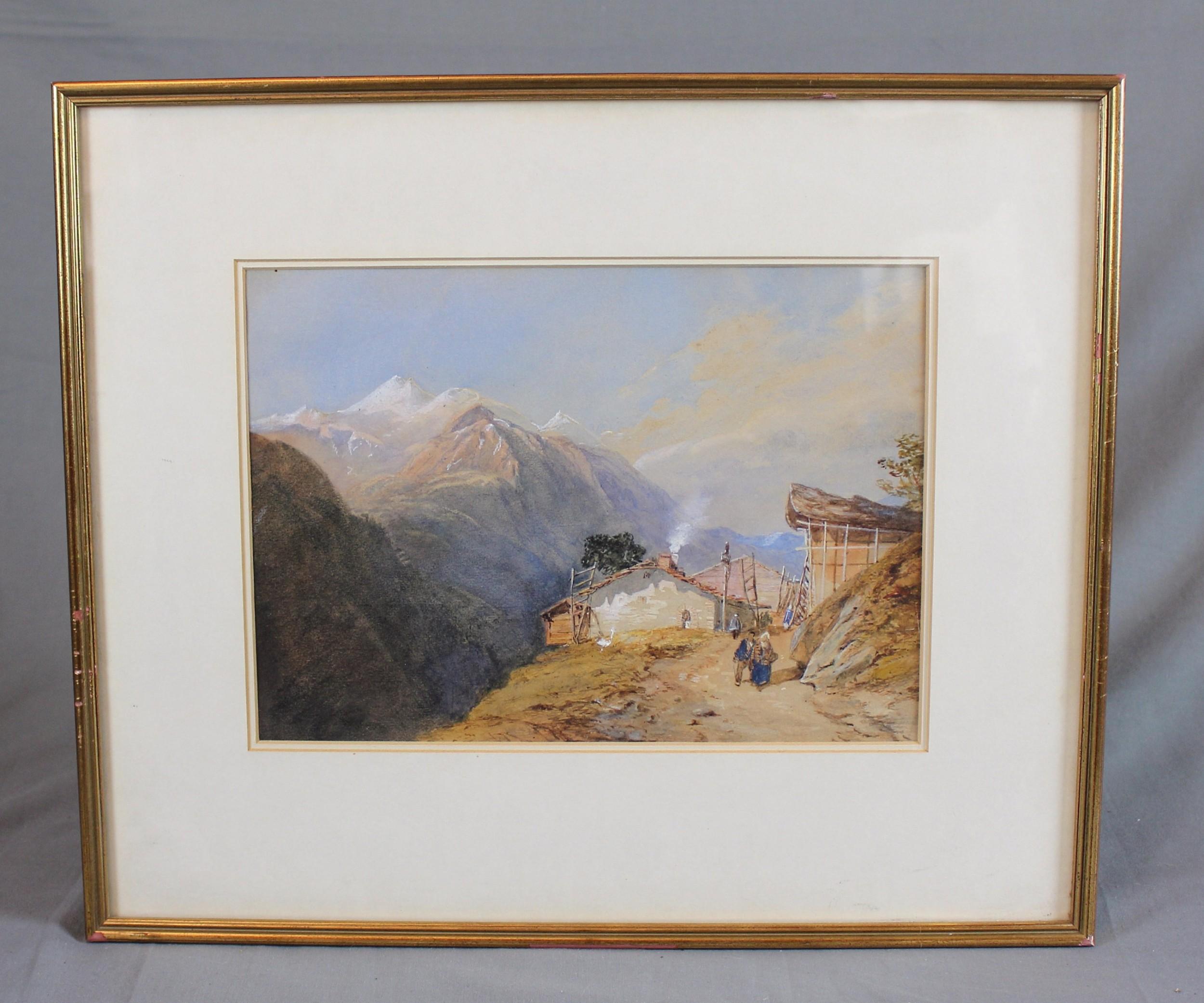 19th century landscape watercolour figures in an alpine landscape by thomas miles richardson jnr
