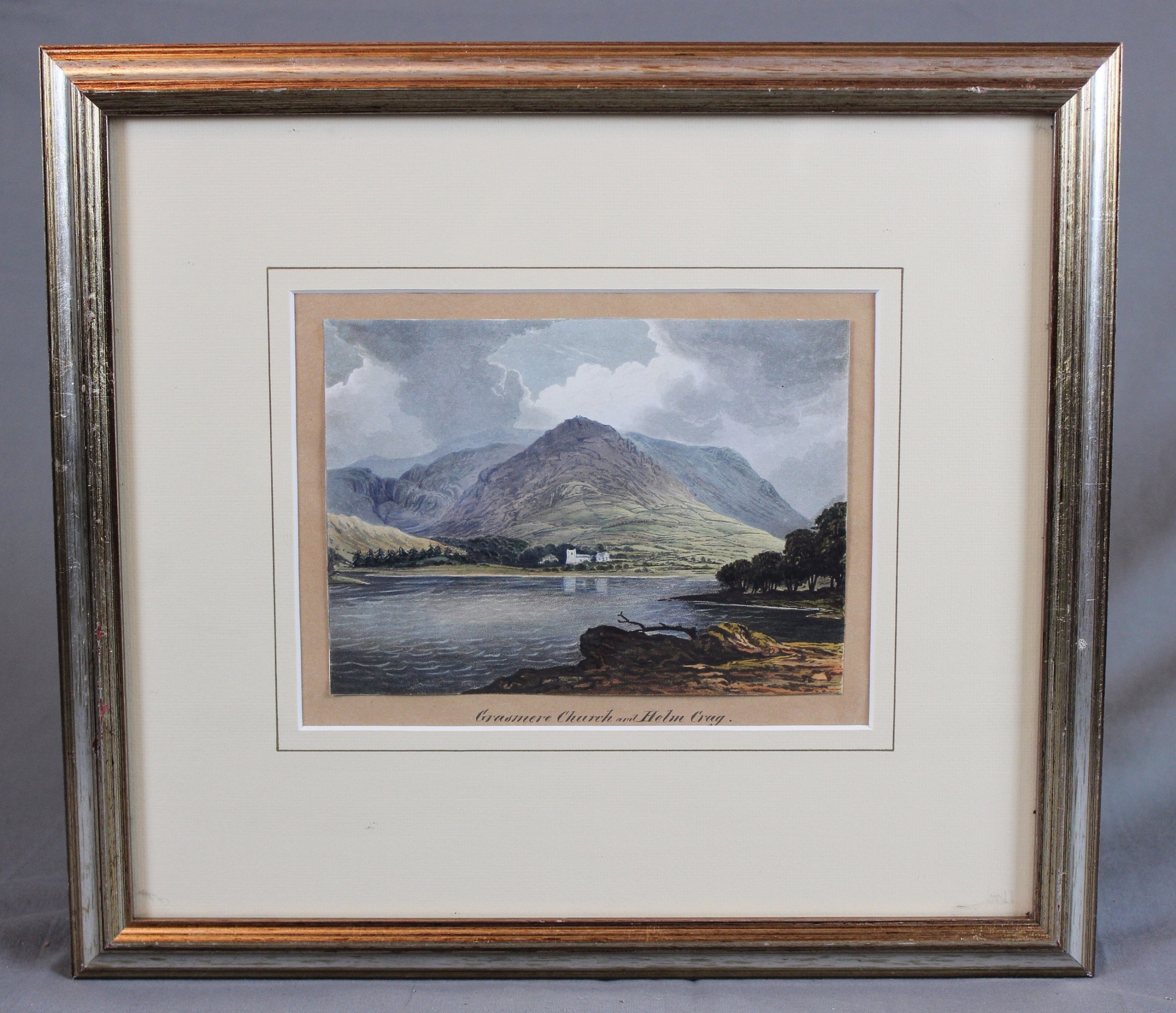 19th century cumbria watercolour grassmere church and helm crag the lion and the lamb