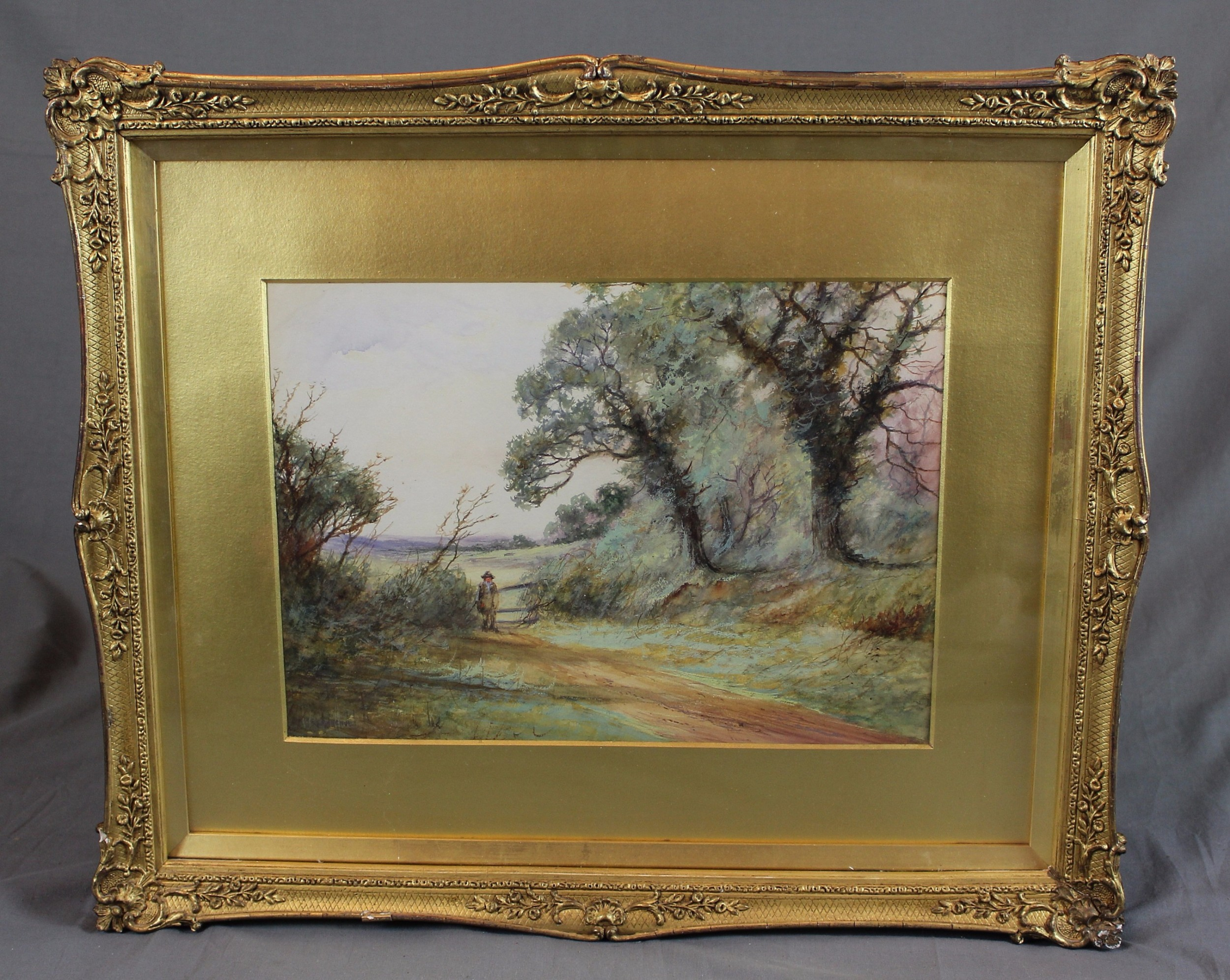 19th century landscape watercolour english countryside