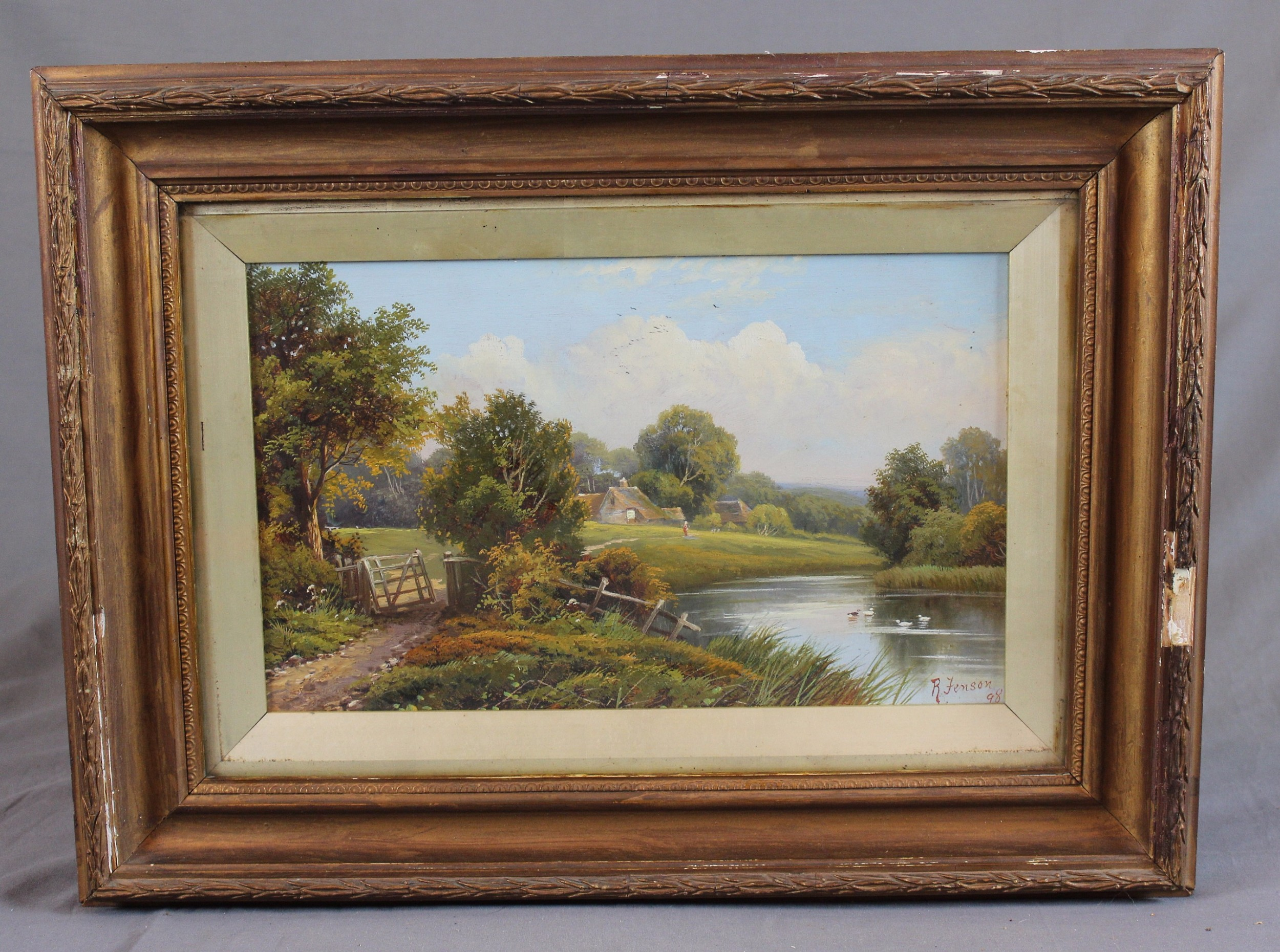 19th century oil painting english countryside by robert robin fenson fl 18991914