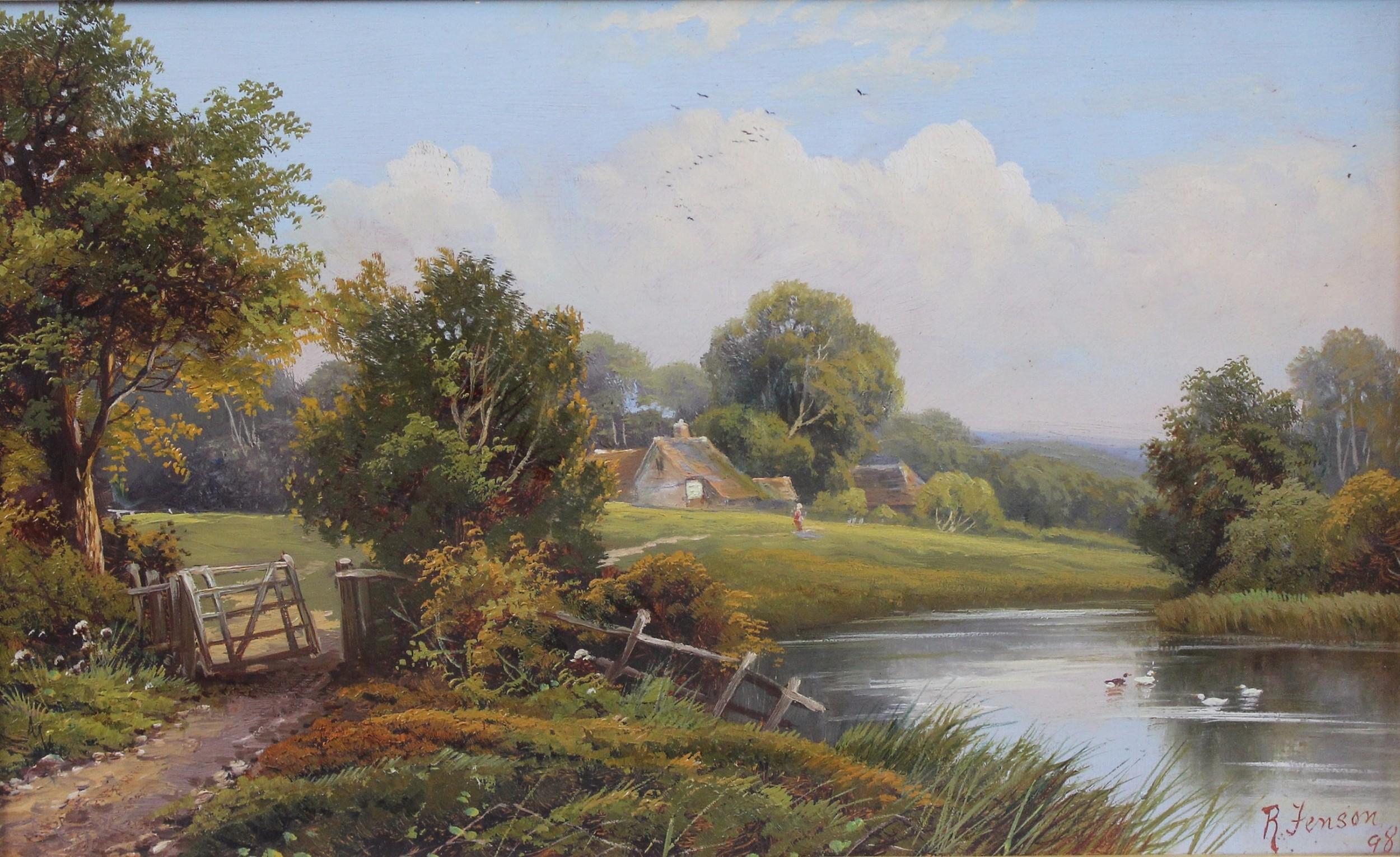 robert robin fenson fl 18991914 oil painting english countryside landscape