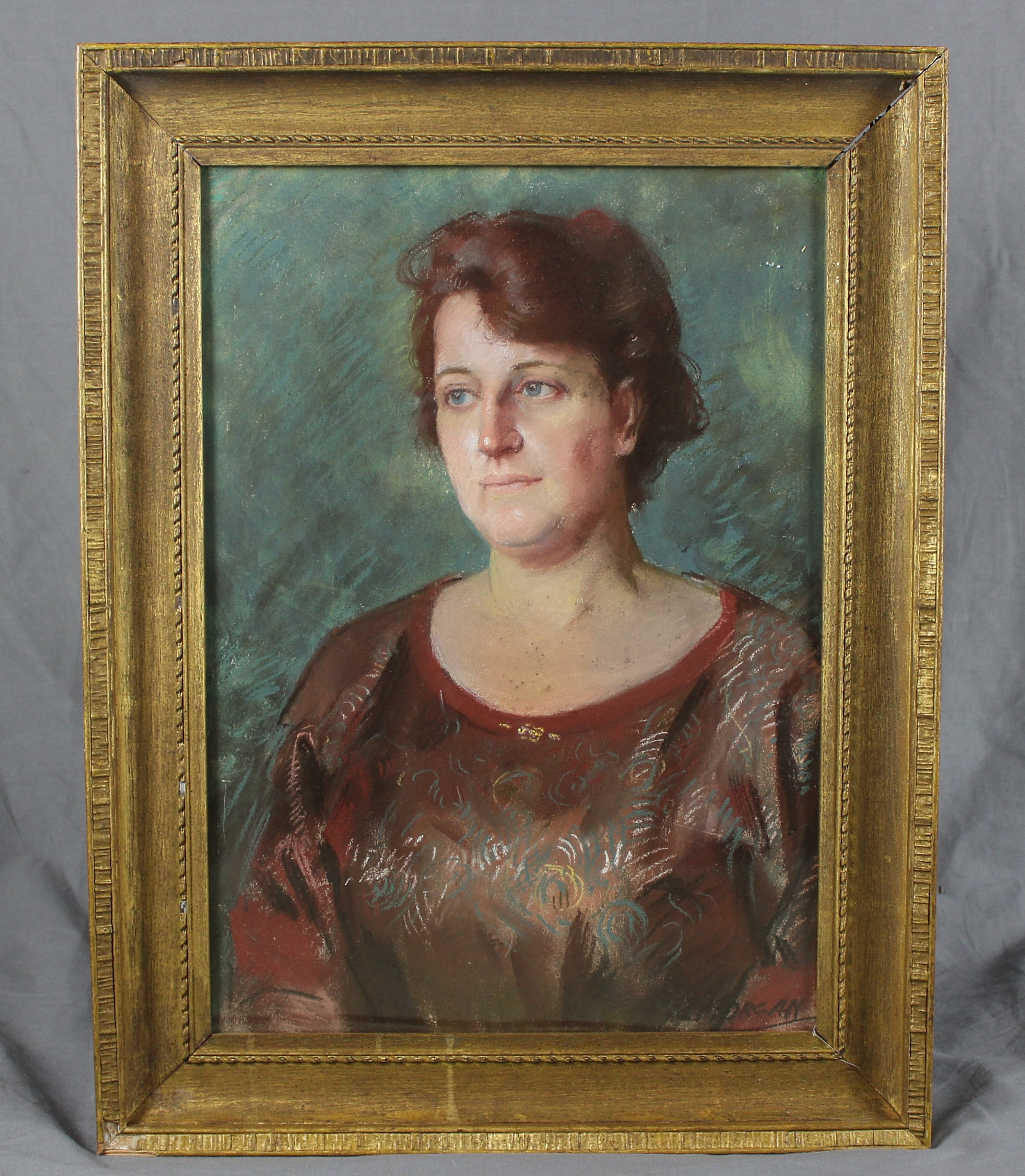 vintage pastel drawing portrait of a lady