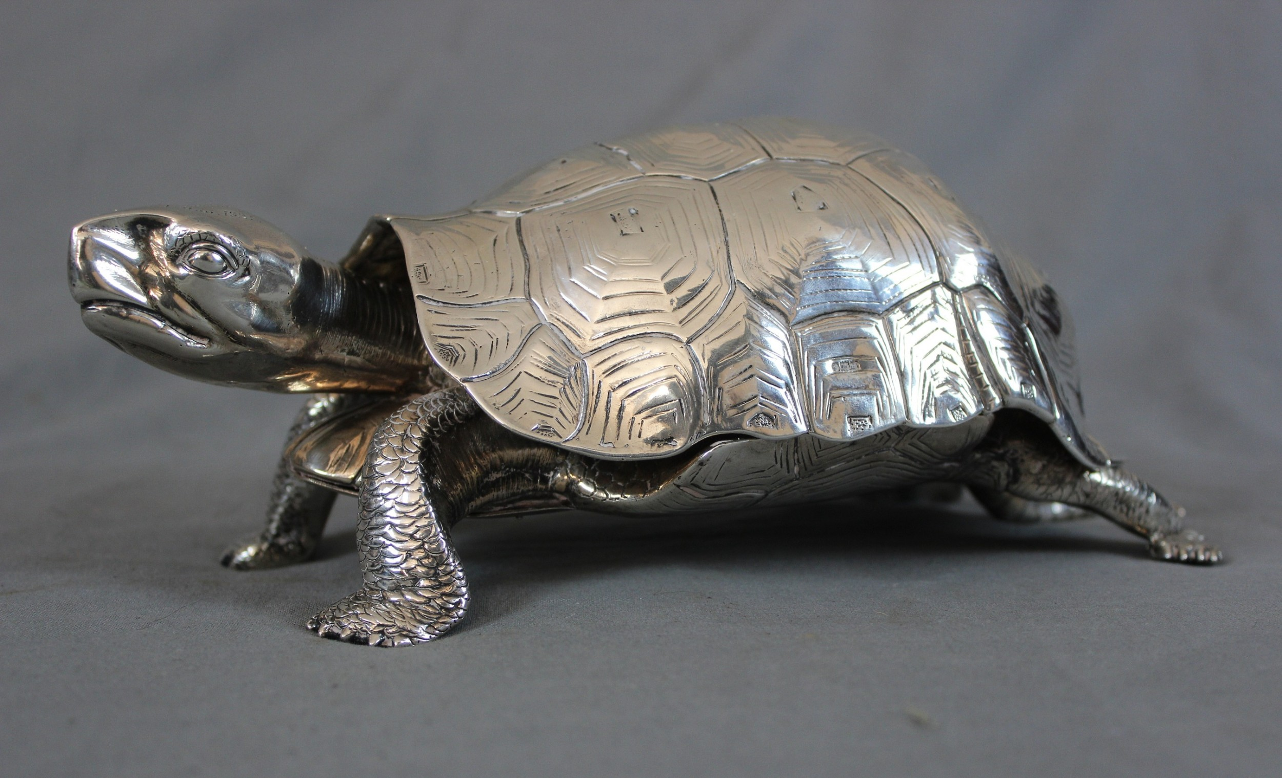 tortoise inkstand large solid silver fine rare life size