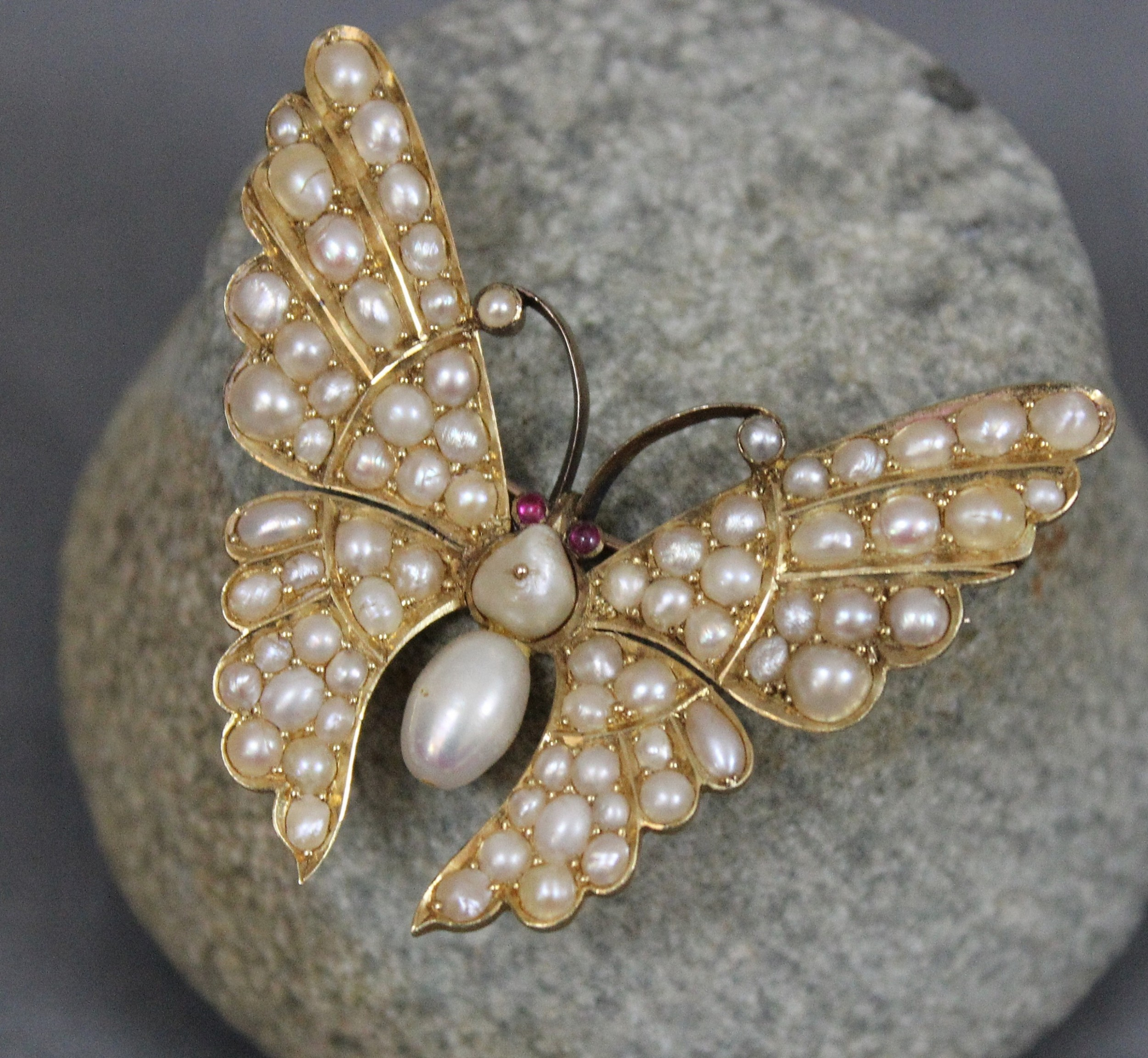 fine victorian gold pearl and ruby butterfly brooch