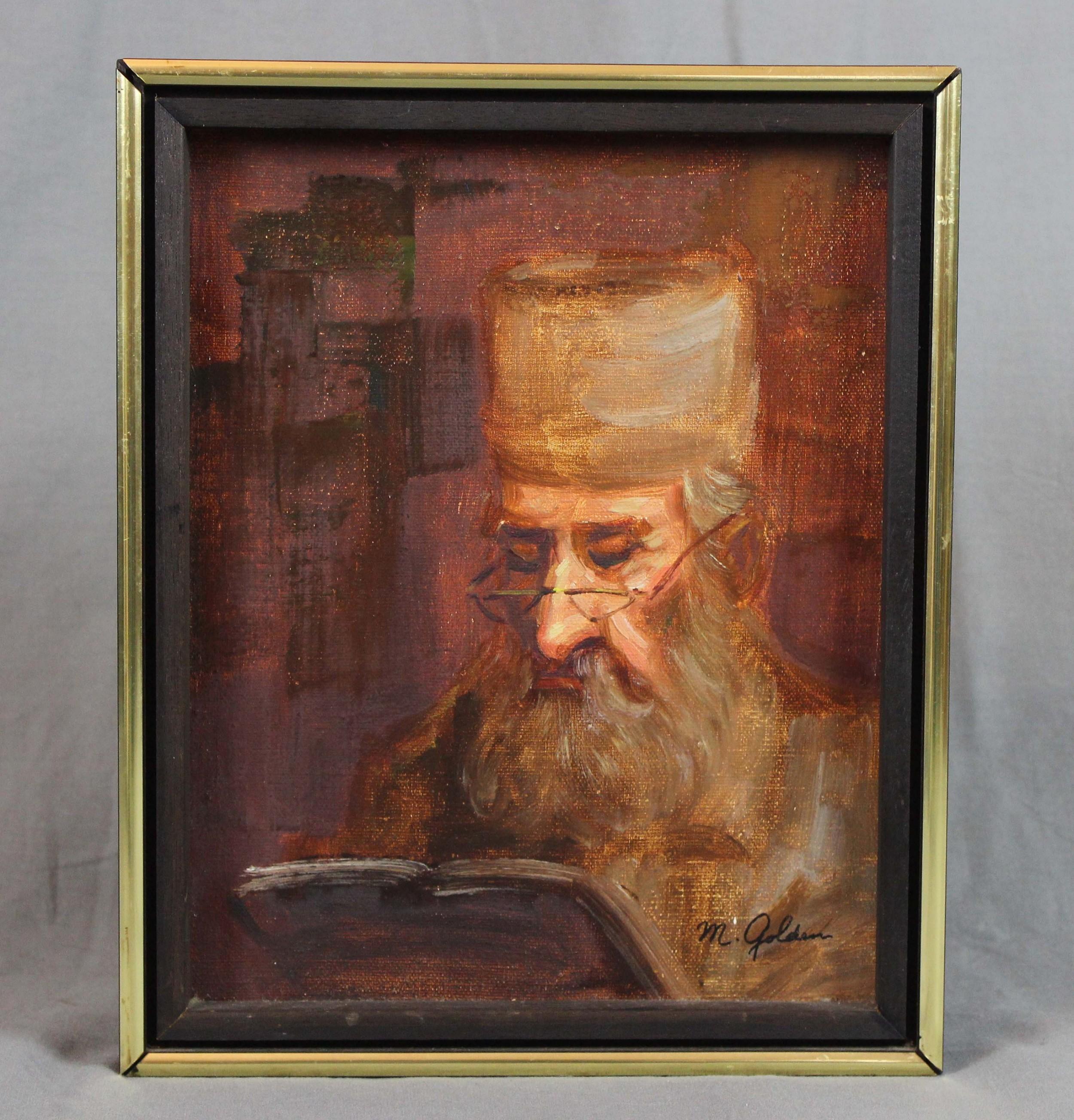 portrait oil painting rabbi by m golden