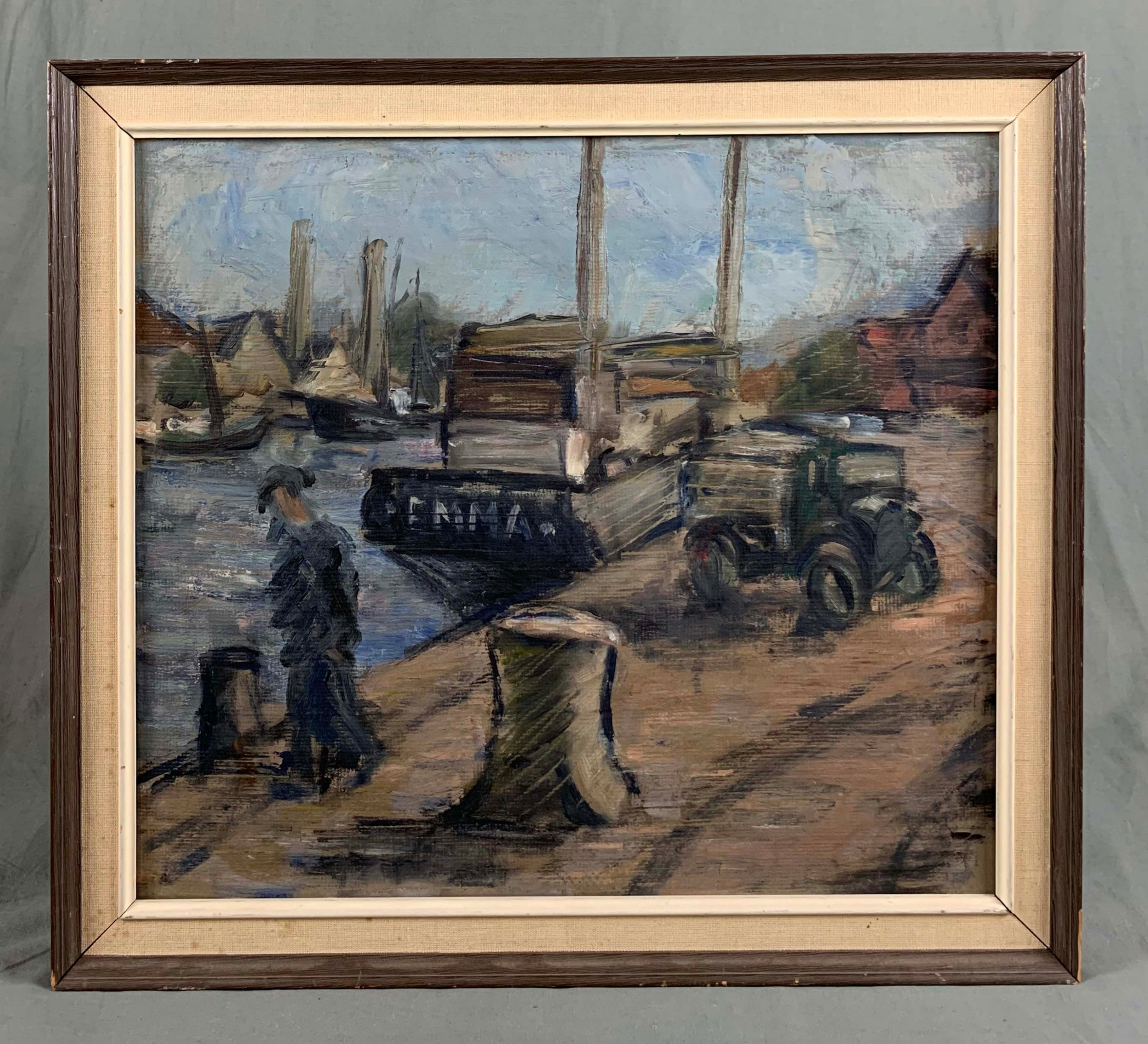 impressionist style oil painting harbour scene