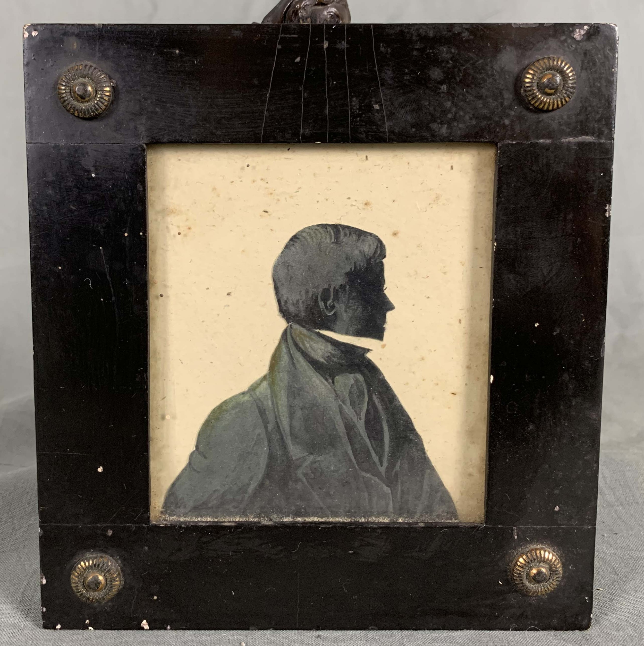19th century miniature silhouette head and shoulder portrait of a gentleman