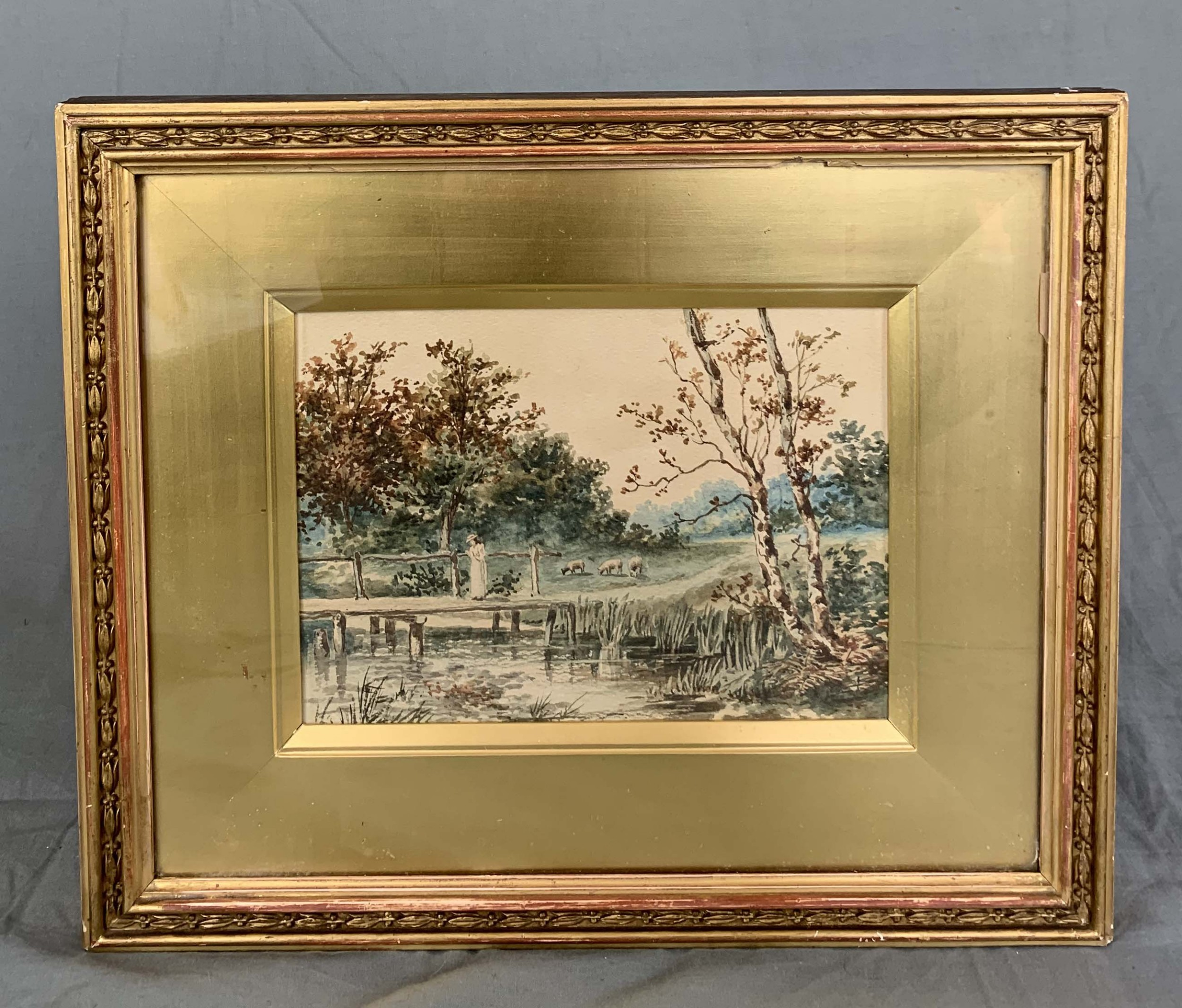 19th century english river landscape watercolour painting