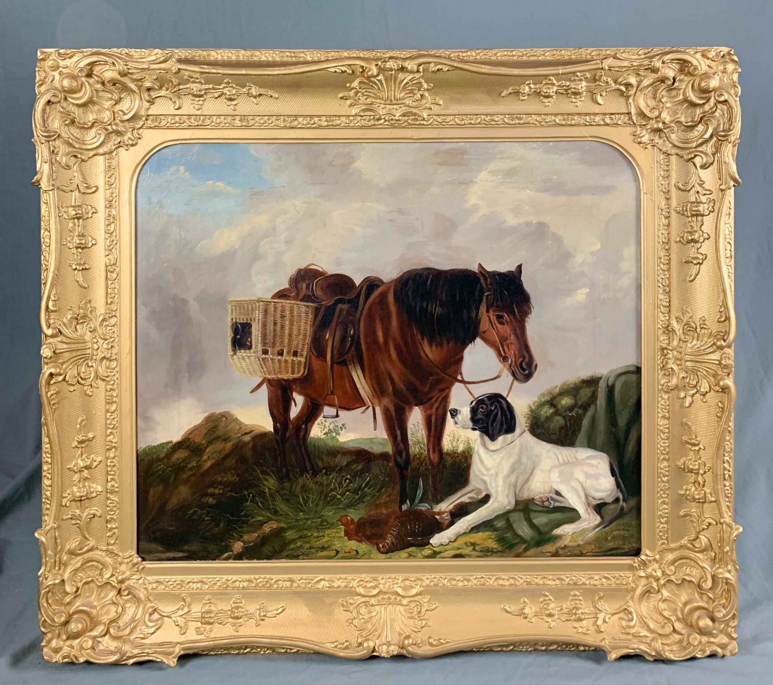 19th century oil painting english sporting game interest
