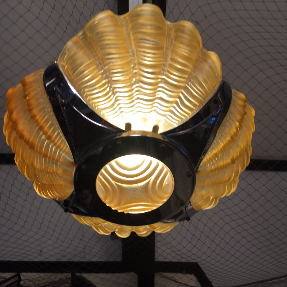 Art Deco Hanging Shell Clam Glass Lamp Shade 460698