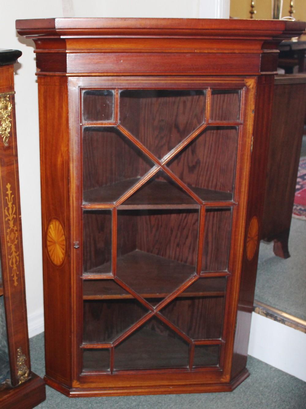 edwardian mahogany glazed corner cabinet