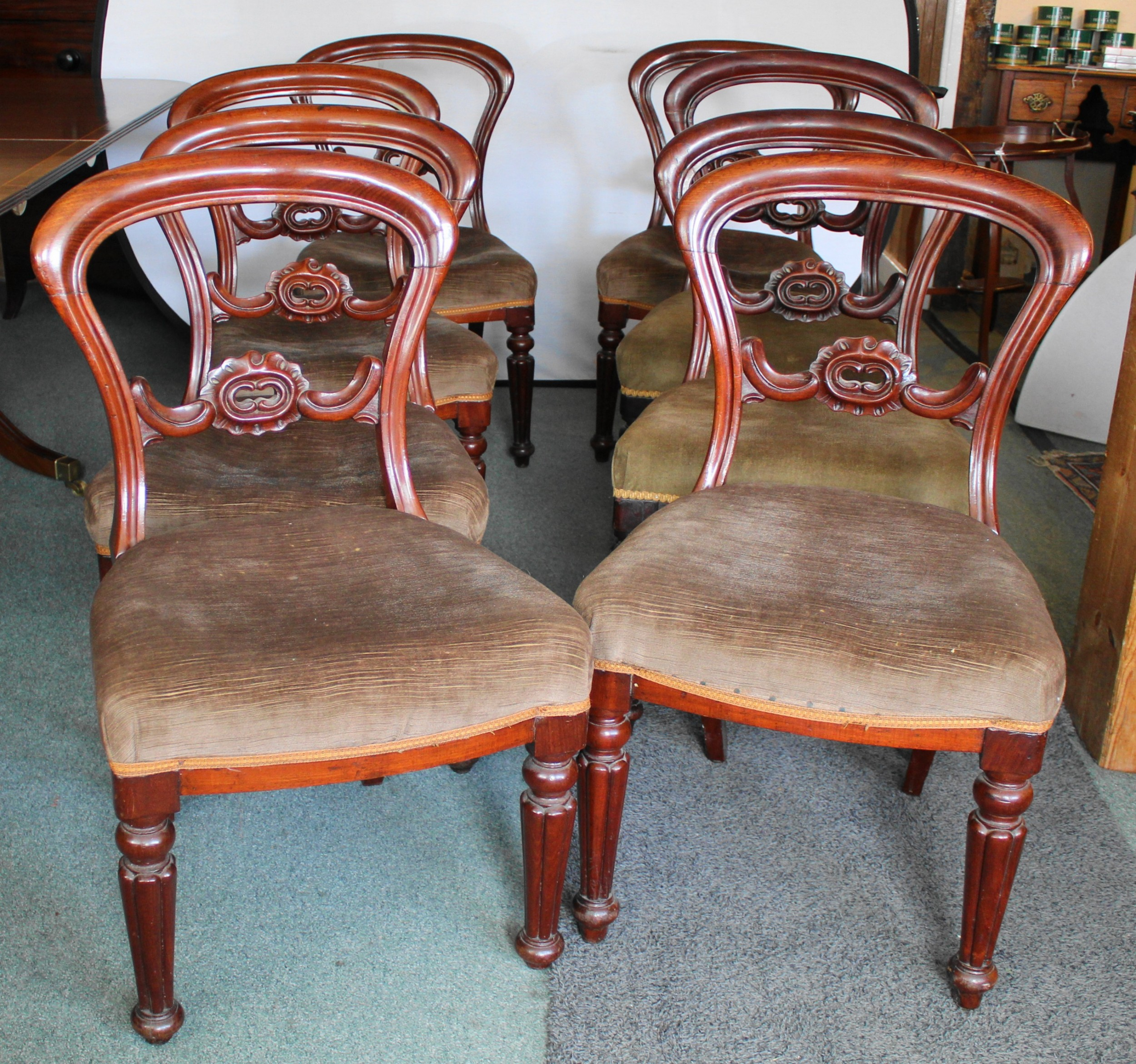 set of eight good quality victorian mahogany balloon back dining chairs