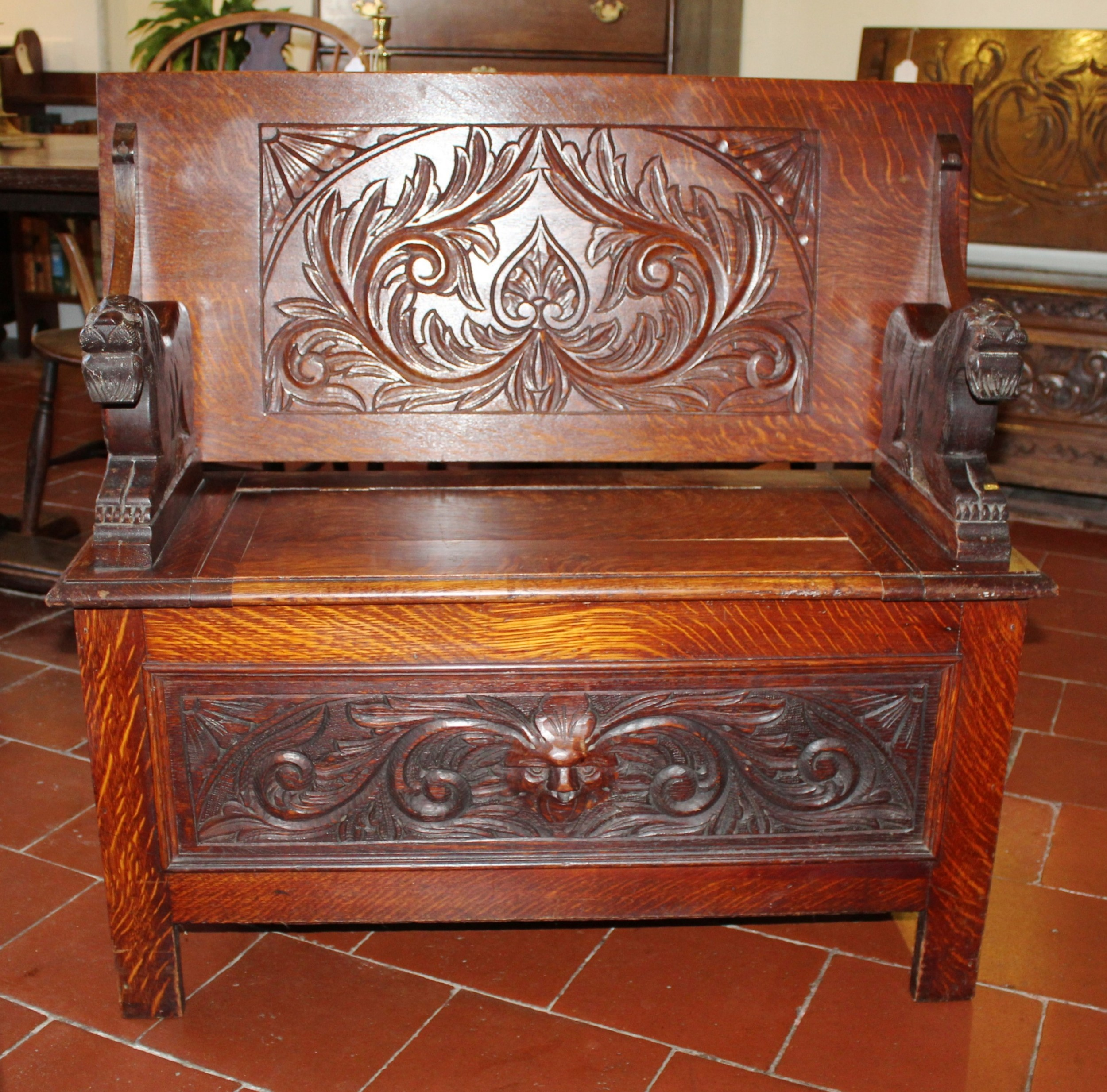 small late victorian carved oak monk's bench